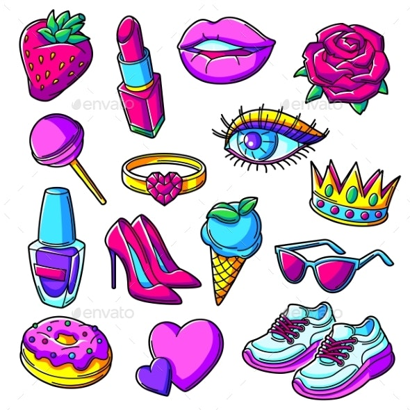 Set of Fashion Girlish Patches - Objects Vectors