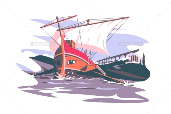 Ancient Rome Boat Composition - Buildings Objects