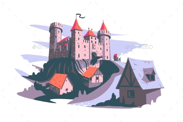 Medieval Castle on Hill - Buildings Objects
