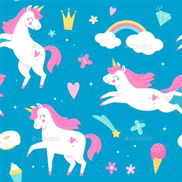 Seamless Pattern Unicorns