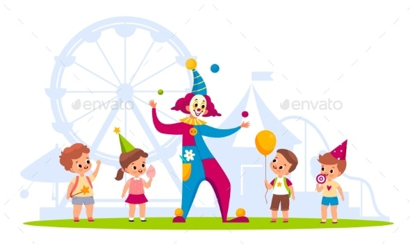 Clown with Kids - People Characters