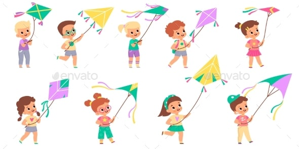 Kids with Kites - Landscapes Nature