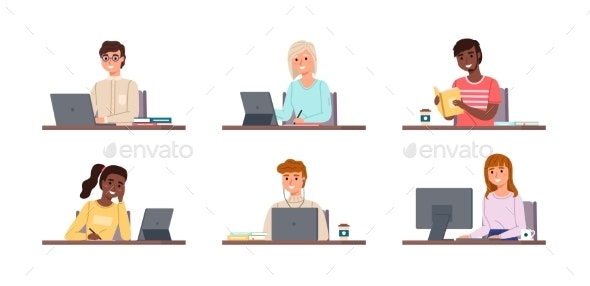 People Sitting with Laptops - Miscellaneous Vectors