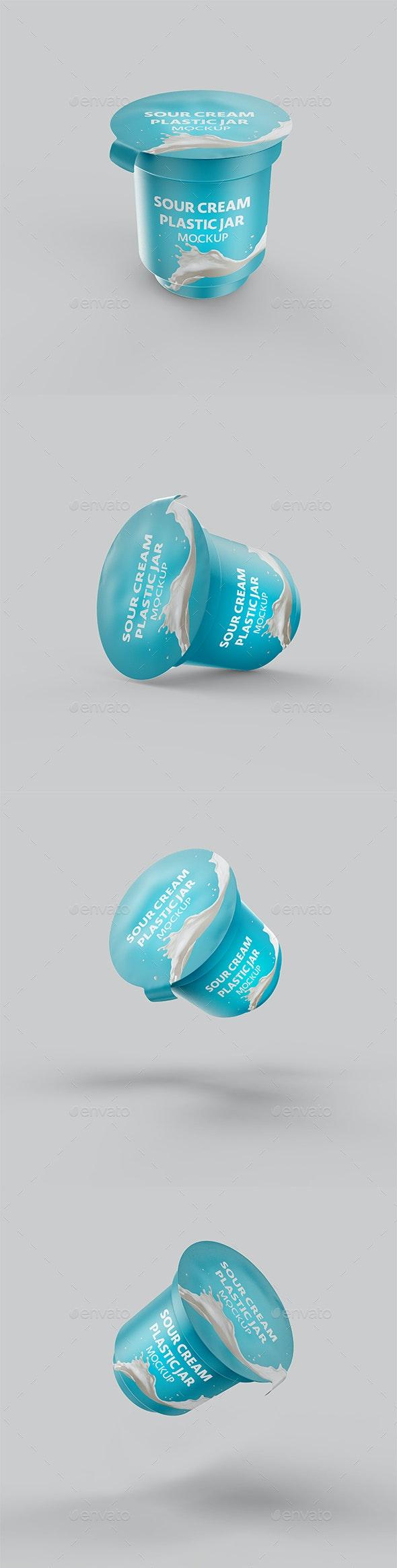 Sour Cream Plastic Big Jar Mockup - Food and Drink Packaging