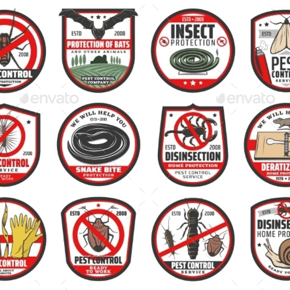 Pest Control Icons Disinfection and Extermination
