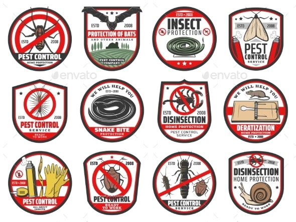 Pest Control Icons Disinfection and Extermination - Industries Business