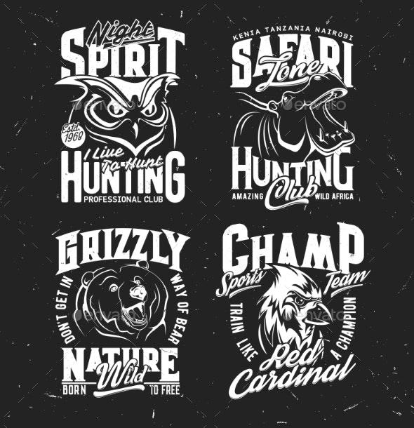 Safari Hunting Sport Team Tshirt Vector Print - Animals Characters