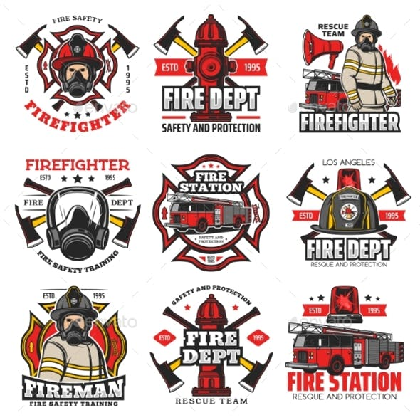 Firefighting Icons Fire Department Retro Badges