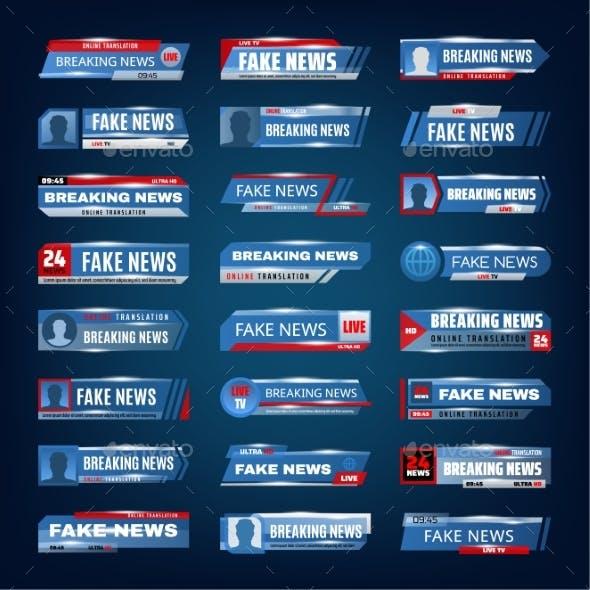 Breaking News Fake News Live TV Media Banners