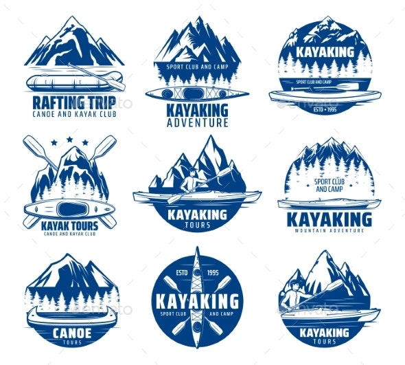 Kayaking Rafting and Canoeing Sport Vector Icons - Sports/Activity Conceptual