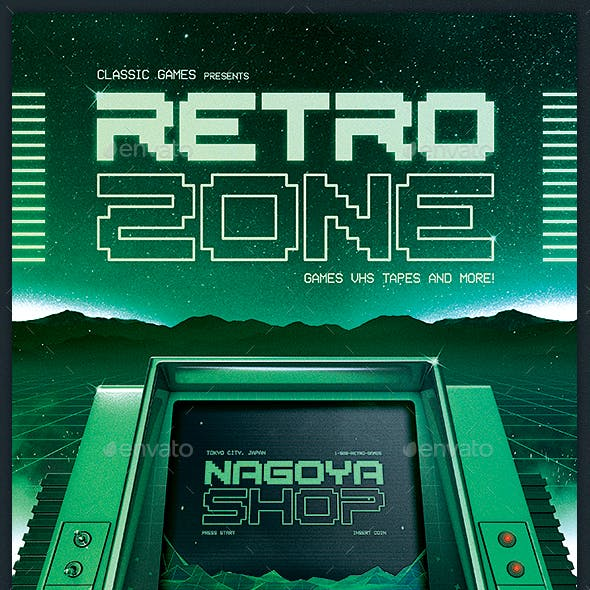 Retro Gaming 80s Synthwave Computer Flyer
