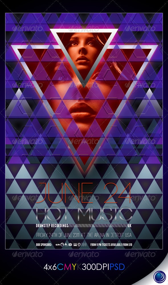 Modern Plastic Triangles Flyer Template - Clubs & Parties Events