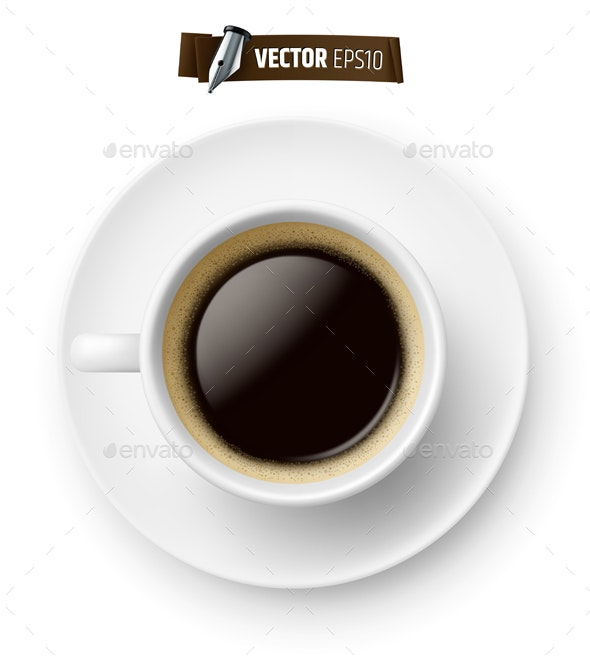 Vector Realistic Coffee Cup - Food Objects