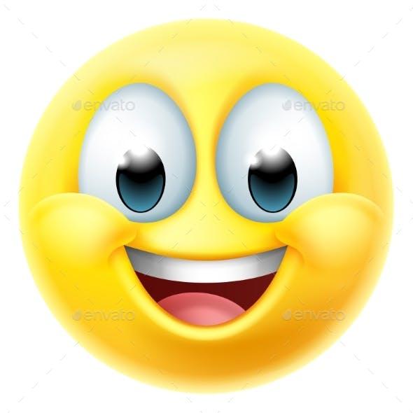 Happy Smiling Cartoon Emoji Emoticon Face Icon