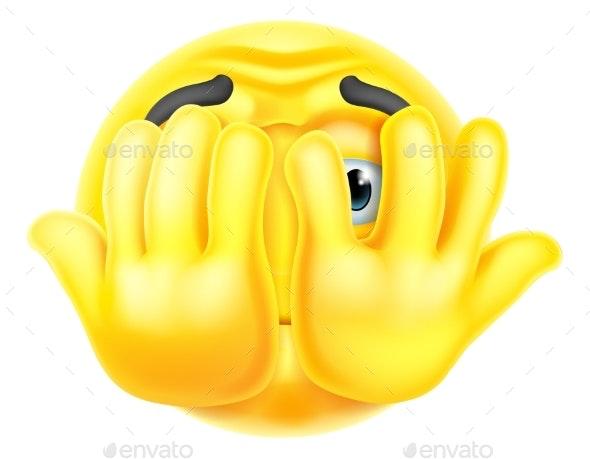 Cartoon Emoticon Face Icon Hiding Behind Hands - Miscellaneous Vectors