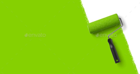 Vector Realistic Paint Roller Background - Backgrounds Decorative