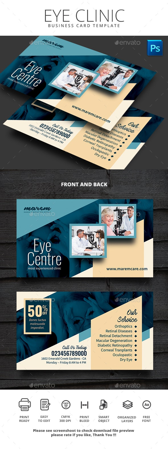 Eye Clinic Business Card - Business Cards Print Templates