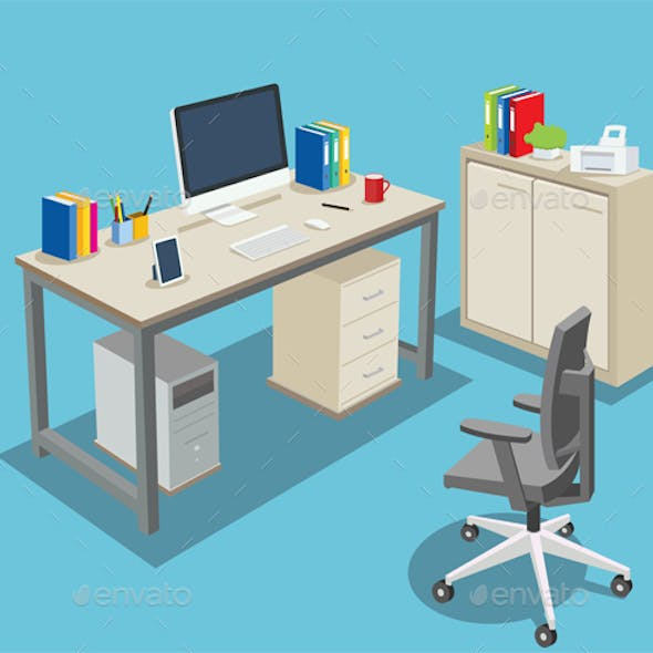 Isometric Office Room, Business Working Place illustration