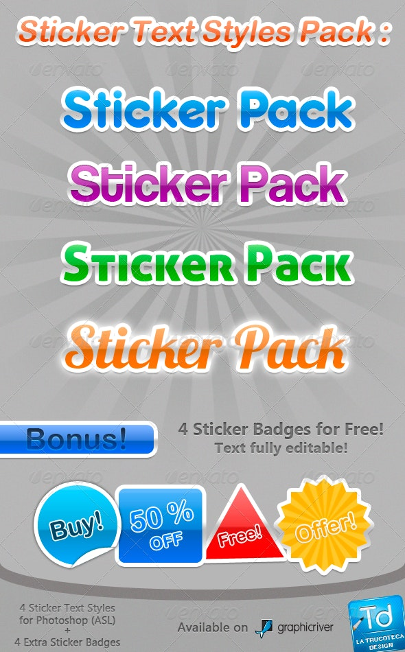 Sticker Text Styles Pack - Text Effects Styles