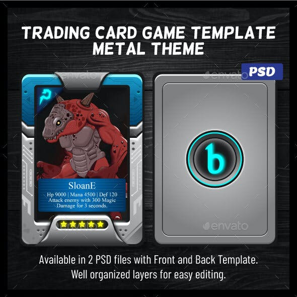 RPG Trading Card Game Template   Futuristic Metal Theme