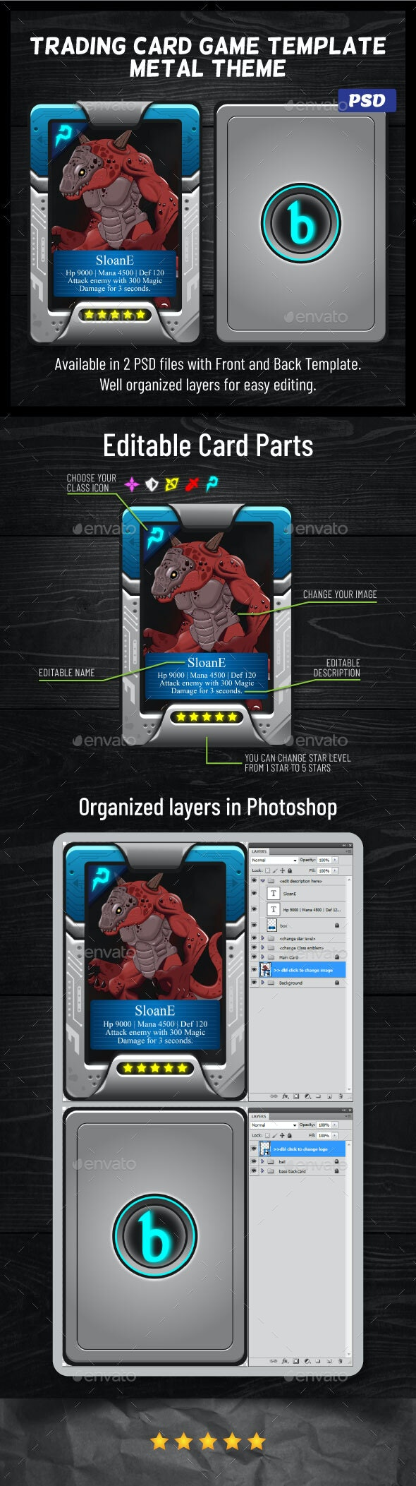 RPG Trading Card Game Template   Futuristic Metal Theme - User Interfaces Game Assets