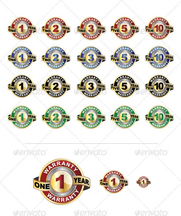 Warranty Seal Icon Set - Man-made Objects Objects