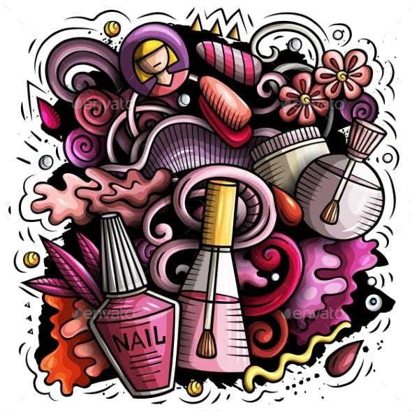 Nail Salon Hand Drawn Vector Doodles Illustration