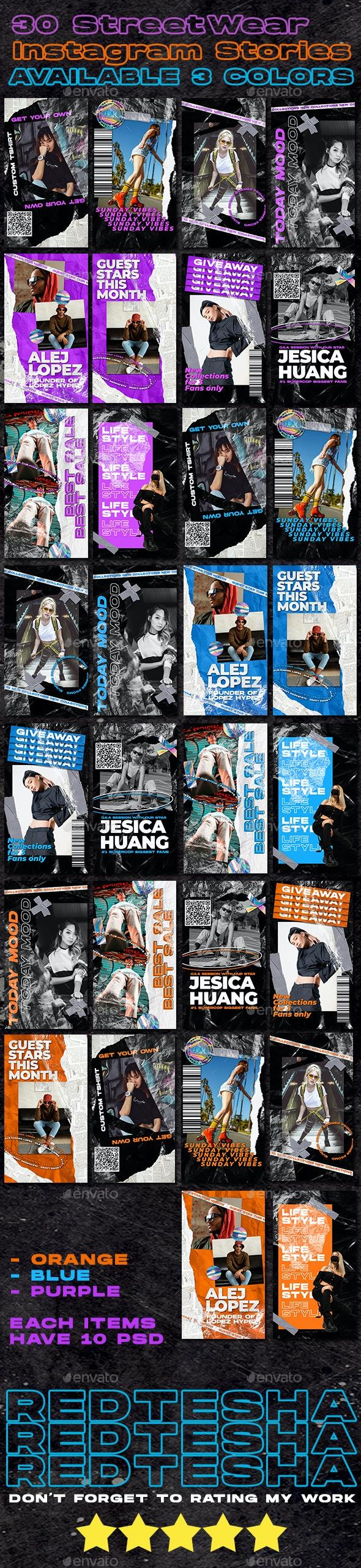 30 PSD Streetwear Instagram Stories Design - Social Media Web Elements