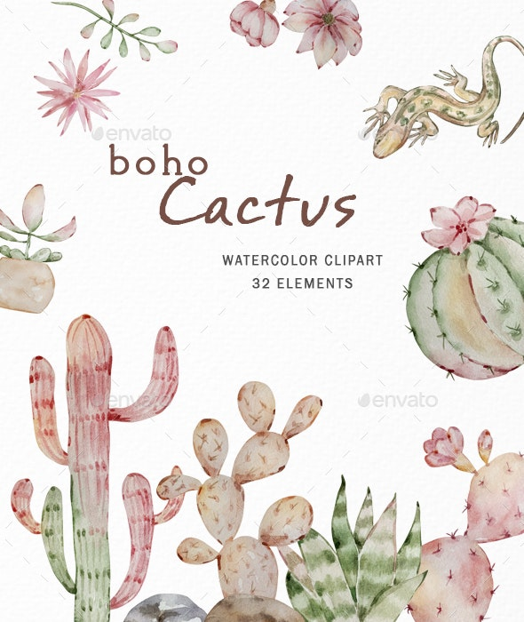 Watercolor Cacti Clipart Boho Tropical Plant - Illustrations Graphics