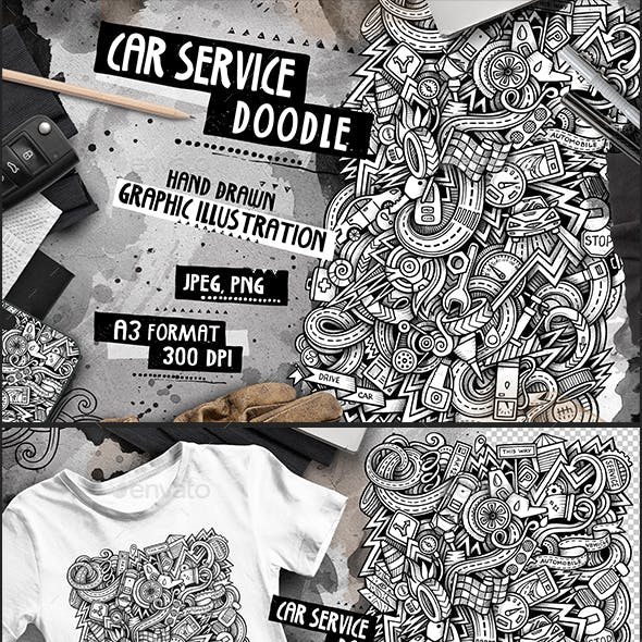 Automotive Graphic Doodle Hand Drawn Illustration