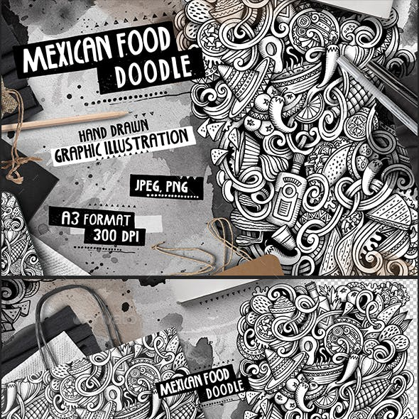 MEXICAN FOOD Graphic Doodle Hand Drawn Illustration