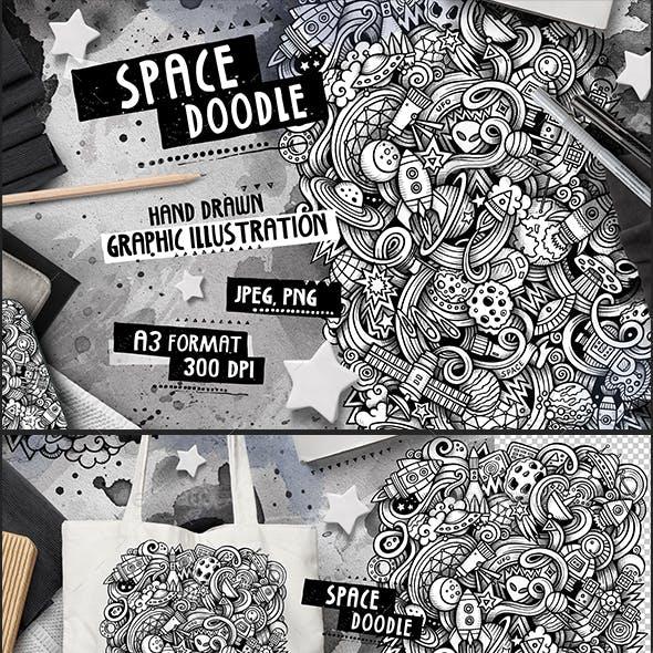 SPACE Graphic Doodle Hand Drawn Illustration