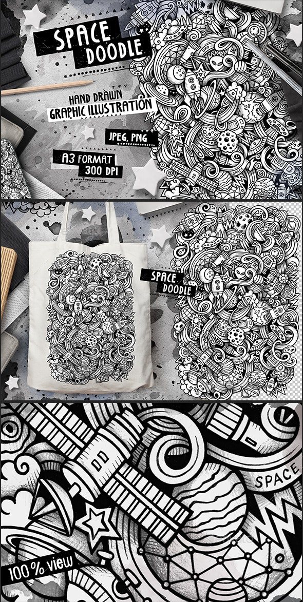SPACE Graphic Doodle Hand Drawn Illustration - Illustrations Graphics