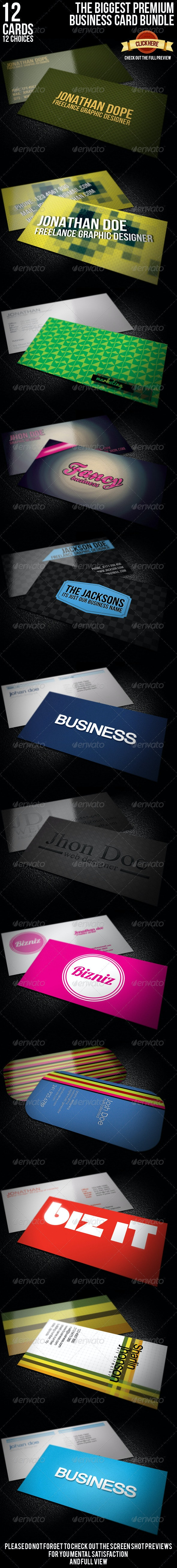 Biggest Premium Business Card Bundle [12 cards]  - Corporate Business Cards