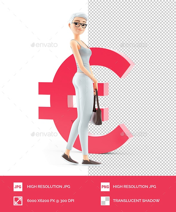 3D Senior Woman in Front of Euro Sign - Characters 3D Renders