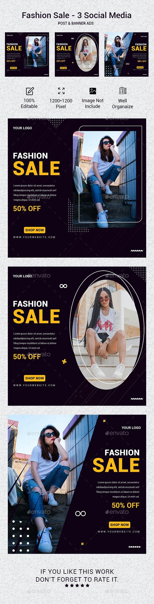 Fashion Sale - 3 Social Media Post & Banner Ads - Social Media Web Elements