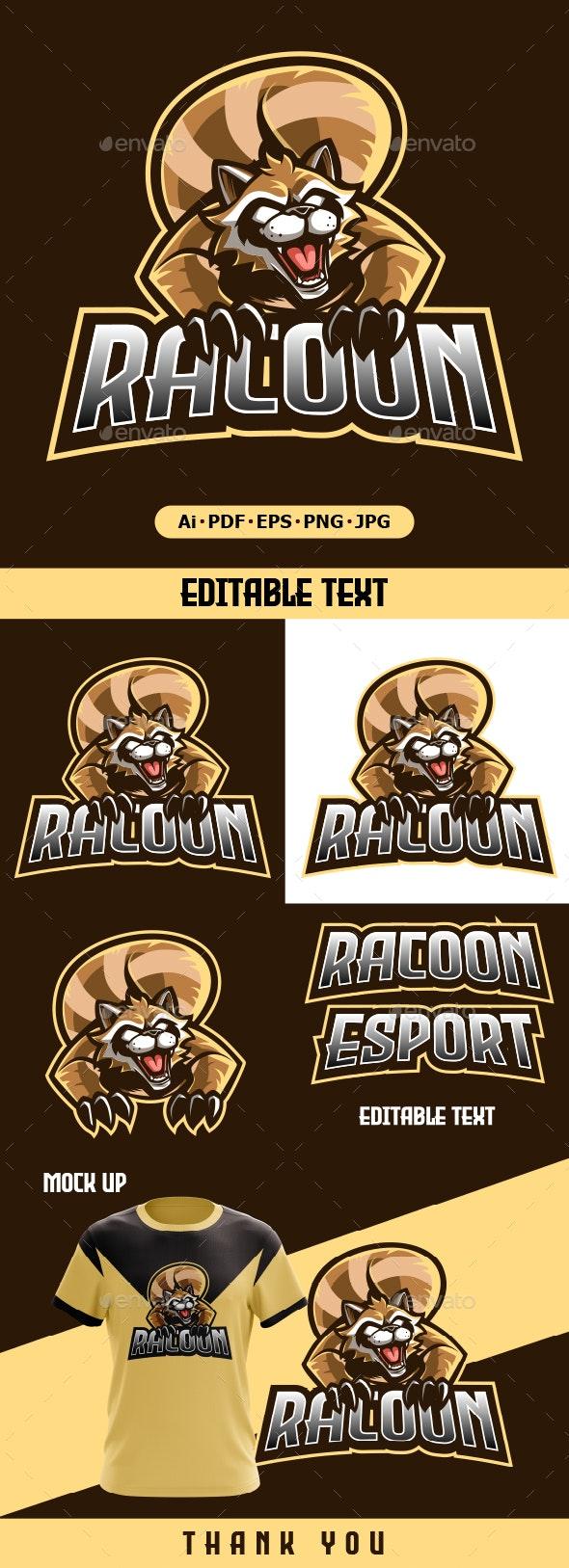 Racoon Mascot cartoon logo - Animals Logo Templates