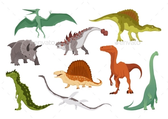 Dinosaurs Flat Icon Collection - Animals Characters