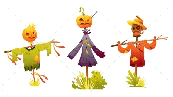 Set of Scarecrows Was Put on a Stick - Animals Characters