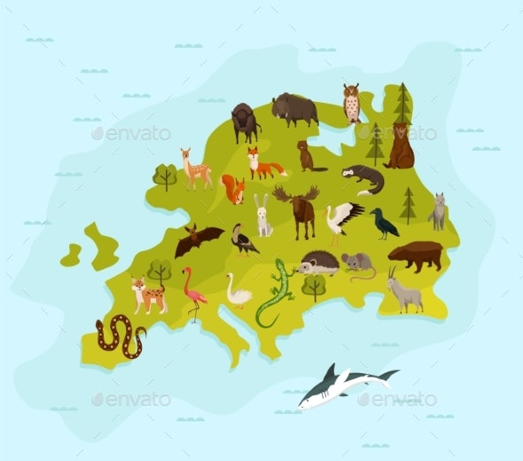 Animal Map of Europe - Animals Characters