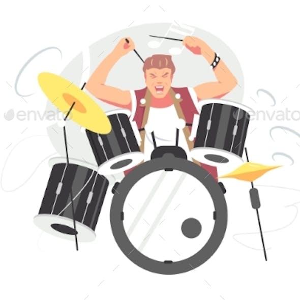 Musician Guy Playing Drum Set