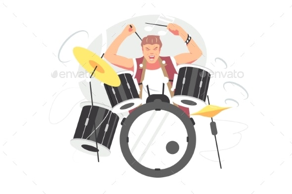 Musician Guy Playing Drum Set - Miscellaneous Vectors