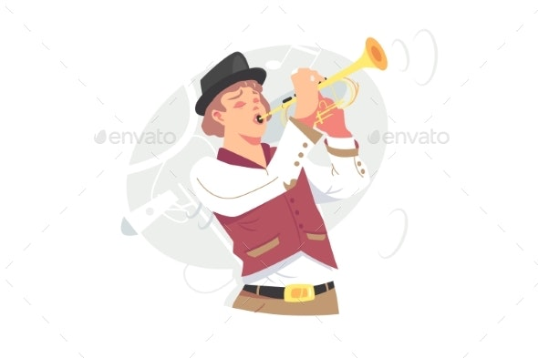 Musician Plays Jazz Music on Trumpet - People Characters