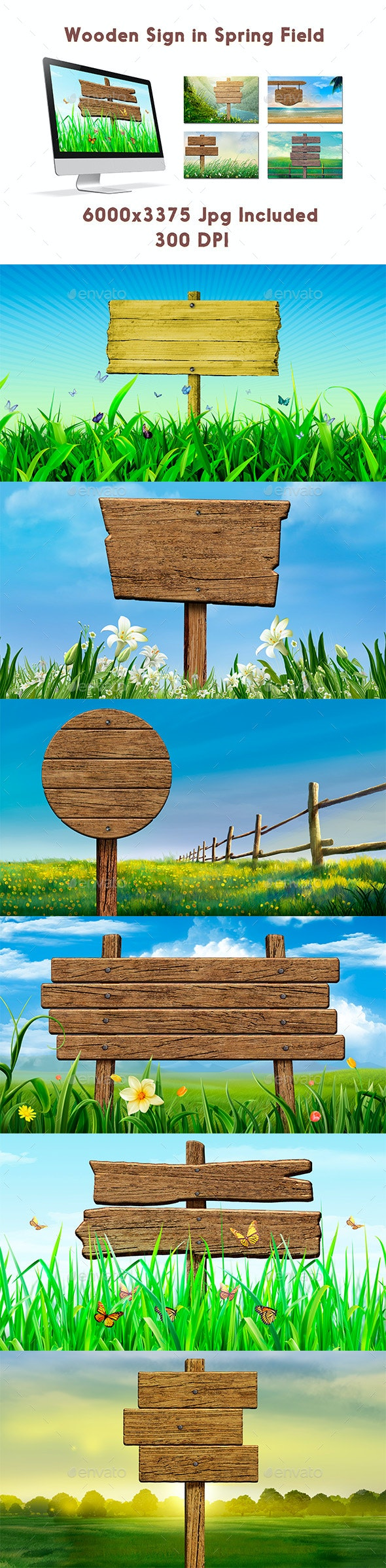 Wooden Sign in Spring Field - Backgrounds Graphics