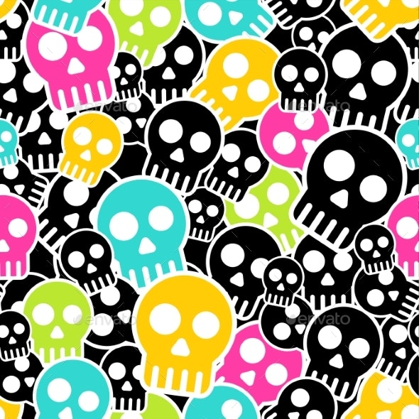 Vector Seamless Wrapping Paper with Colkor Skulls - Patterns Decorative