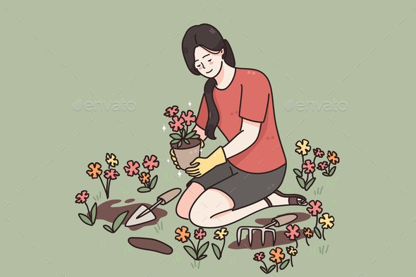 Taking Care of Plants Growing Flowers Concept - Flowers & Plants Nature