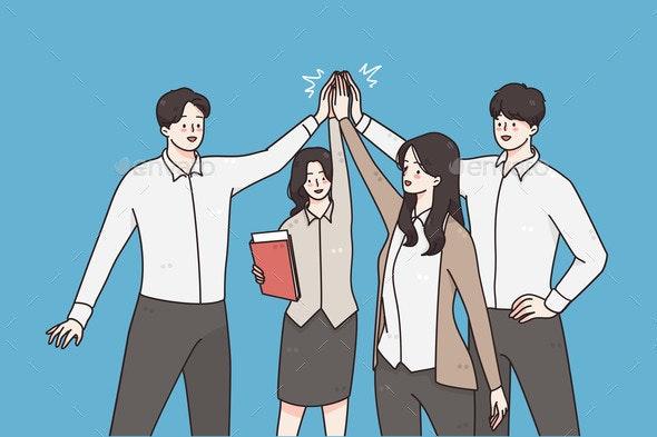 Successful Business Team Teamwork Concept - Business Conceptual
