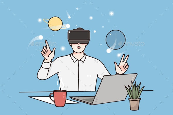 Virtual Reality Science and Technology Concept - Computers Technology
