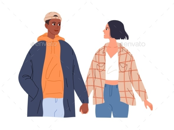 Couple of Teenagers in Love on a Date Walk Holding - People Characters