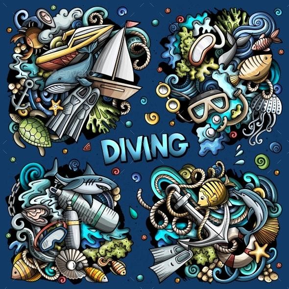 Diving Cartoon Vector Doodle Designs Set - Sports/Activity Conceptual
